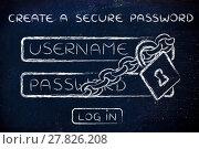 Купить «create a secure password, login with lock and chain», фото № 27826208, снято 26 февраля 2018 г. (c) PantherMedia / Фотобанк Лори