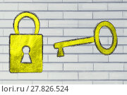Купить «golden key and lock, metaphor of getting the key to success», фото № 27826524, снято 18 марта 2018 г. (c) PantherMedia / Фотобанк Лори