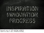 Купить «inspiration, innovation, progress writing with glowing gearwheels pattern», фото № 27826692, снято 20 августа 2018 г. (c) PantherMedia / Фотобанк Лори