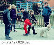 Купить «Kids skipping on chinese jumping elastic rope in yard», фото № 27829320, снято 24 февраля 2018 г. (c) Яков Филимонов / Фотобанк Лори