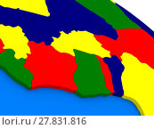 Купить «Ivory Coast, Ghana and Burkina Faso on colorful 3D globe», фото № 27831816, снято 25 июня 2019 г. (c) PantherMedia / Фотобанк Лори