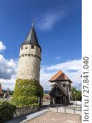 Купить «Part of the original drawbridge tower that lead to the castle in Bad Homburg, near Frankfurt», фото № 27841040, снято 19 февраля 2019 г. (c) PantherMedia / Фотобанк Лори
