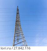 Купить «high voltage electricity pylons against blue sky and cloud», фото № 27842116, снято 20 марта 2019 г. (c) PantherMedia / Фотобанк Лори