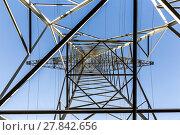 Купить «high voltage electricity pylons against blue sky and cloud», фото № 27842656, снято 20 марта 2019 г. (c) PantherMedia / Фотобанк Лори
