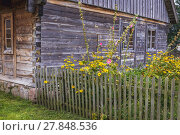 Купить «Wooden cottage in Museum of Folk Culture in Wegorzewo town, Warmian-Masurian Voivodeship of Poland.», фото № 27848536, снято 23 августа 2017 г. (c) easy Fotostock / Фотобанк Лори