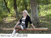 Купить «the beautiful woman sits on a bench in autumn park», фото № 27852008, снято 23 марта 2018 г. (c) PantherMedia / Фотобанк Лори