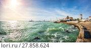 Купить «Ждать у моря погоды The emerald color of the Black Sea», фото № 27858624, снято 20 января 2018 г. (c) Baturina Yuliya / Фотобанк Лори