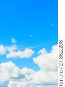 Купить «Blue sky background with white clouds lit by sunlight. Sky landscape in natural tones», фото № 27862208, снято 12 августа 2016 г. (c) Зезелина Марина / Фотобанк Лори