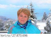 Купить «Портрет улыбающейся женщины средних лет», эксклюзивное фото № 27873696, снято 16 марта 2012 г. (c) Юрий Морозов / Фотобанк Лори