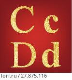 Купить «alphabet set  made up of gold spangles », иллюстрация № 27875116 (c) PantherMedia / Фотобанк Лори