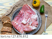 Купить «Pieces of Italian prosciutto on a plate», фото № 27876812, снято 15 февраля 2018 г. (c) Татьяна Ляпи / Фотобанк Лори