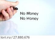 Купить «No money no honey text concept», фото № 27880676, снято 25 июня 2019 г. (c) PantherMedia / Фотобанк Лори
