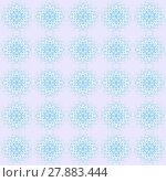Купить «Abstract geometric seamless vintage background. Delicate regular laces pattern white and light blue on pastel purple, diamond pattern, ornate and dreamy.», фото № 27883444, снято 20 июня 2019 г. (c) PantherMedia / Фотобанк Лори