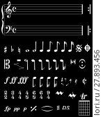 Купить «Musical Notation Negative», фото № 27893456, снято 18 апреля 2019 г. (c) PantherMedia / Фотобанк Лори