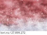 Купить «Red Christmas Background With Snow, Snwoflakes», фото № 27899272, снято 25 июня 2018 г. (c) PantherMedia / Фотобанк Лори