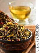 Купить «Composition with bowls of tea leaves», фото № 27901596, снято 25 мая 2019 г. (c) PantherMedia / Фотобанк Лори