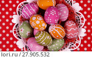 Купить «Easter eggs in basket rotating on the red tablecloth close-up», видеоролик № 27905532, снято 3 мая 2016 г. (c) Алексей Кузнецов / Фотобанк Лори