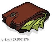 Купить «Wallet full of green dollars», фото № 27907876, снято 25 июня 2019 г. (c) PantherMedia / Фотобанк Лори