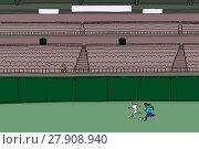 Купить «Man in Bleachers Watching Female Soccer Players», иллюстрация № 27908940 (c) PantherMedia / Фотобанк Лори