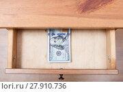 Купить «hundred-dollar banknotes pack in open drawer», фото № 27910736, снято 27 мая 2019 г. (c) PantherMedia / Фотобанк Лори