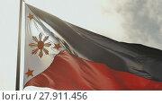 Купить «Flying bicolor flag of the Philippines with central golden sun representing the provinces and stars the islands», видеоролик № 27911456, снято 12 февраля 2018 г. (c) Mikhail Davidovich / Фотобанк Лори