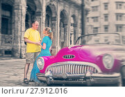 Купить «HAVANA- JANUARY 27, 2013: Loving couple near old American retro car (50th years of the last century) on the Malecon street, toning», фото № 27912016, снято 27 января 2013 г. (c) Куликов Константин / Фотобанк Лори