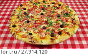 Купить «Low angle view video of rotating pizza with cheese, tomatoes and olives on the red tablecloth», видеоролик № 27914120, снято 13 марта 2016 г. (c) Алексей Кузнецов / Фотобанк Лори