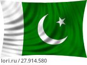 Купить «Flag of Pakistan waving in wind isolated on white», иллюстрация № 27914580 (c) PantherMedia / Фотобанк Лори