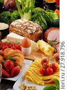 Купить «Composition with variety of organic food products», фото № 27918796, снято 25 мая 2019 г. (c) PantherMedia / Фотобанк Лори