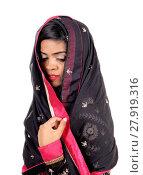Купить «Woman covered in a veil.», фото № 27919316, снято 20 февраля 2018 г. (c) PantherMedia / Фотобанк Лори
