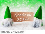 Купить «Green Natural Gnomes With Card, Text Goodbye 2016», фото № 27929604, снято 21 мая 2018 г. (c) PantherMedia / Фотобанк Лори