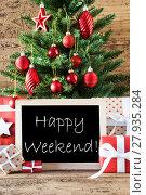 Купить «Colorful Christmas Tree With Text Happy Weekend», фото № 27935284, снято 23 апреля 2019 г. (c) PantherMedia / Фотобанк Лори