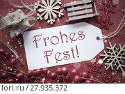 Купить «Nostalgic Decoration, Label With Frohes Fest Means Merry Christmas», фото № 27935372, снято 3 июля 2020 г. (c) PantherMedia / Фотобанк Лори