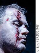 Купить «Bloody Halloween theme: crazy killer as young man with blood», фото № 27936948, снято 25 апреля 2019 г. (c) PantherMedia / Фотобанк Лори