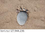 Купить «Rock footstep in sand», фото № 27944236, снято 17 января 2019 г. (c) PantherMedia / Фотобанк Лори