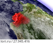 Купить «Ecuador from space highlighted in red», фото № 27945416, снято 22 октября 2018 г. (c) PantherMedia / Фотобанк Лори