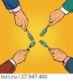 Купить «Hands with fork divide something», фото № 27947400, снято 21 октября 2018 г. (c) PantherMedia / Фотобанк Лори