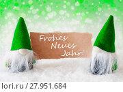 Купить «Green Natural Gnomes With Card, Neues Jahr Means New Year», фото № 27951684, снято 23 апреля 2019 г. (c) PantherMedia / Фотобанк Лори