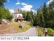 Купить «Small church of 14 century.In Italian Alps», фото № 27952044, снято 20 июня 2019 г. (c) PantherMedia / Фотобанк Лори