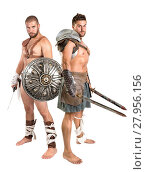 Купить «Ancient warriors or Gladiators isolated in a white background», фото № 27956156, снято 9 июля 2020 г. (c) PantherMedia / Фотобанк Лори