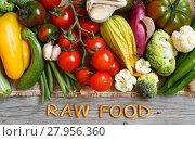 Купить «Fresh vegetables and wooden letters RAW FOOD», фото № 27956360, снято 19 февраля 2018 г. (c) PantherMedia / Фотобанк Лори