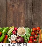 Купить «CousCous in a bowl and fresh vegetables», фото № 27957908, снято 19 октября 2018 г. (c) PantherMedia / Фотобанк Лори