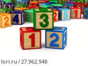 Купить «block with number on white background. Isolated 3D illustration», иллюстрация № 27962948 (c) Ильин Сергей / Фотобанк Лори