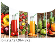 Купить «The collage fron images of bottles with fresh vegetable juices on wooden table», фото № 27964872, снято 19 октября 2019 г. (c) PantherMedia / Фотобанк Лори