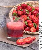 Купить «Fresh strawberry smoothie juice», фото № 27964916, снято 27 апреля 2018 г. (c) PantherMedia / Фотобанк Лори