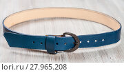 Купить «blue leather belt with forged buckle», фото № 27965208, снято 26 апреля 2018 г. (c) PantherMedia / Фотобанк Лори