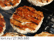 Купить «Chicken or turkey burgers for hamburger on grill», фото № 27965680, снято 23 мая 2019 г. (c) PantherMedia / Фотобанк Лори