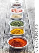 Купить «Various dried herbs and spices.», фото № 27965916, снято 16 июня 2019 г. (c) PantherMedia / Фотобанк Лори