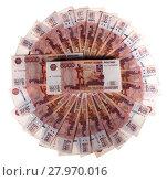 Купить «Фон из пятитысячных российских купюр», фото № 27970016, снято 21 апреля 2013 г. (c) Литвяк Игорь / Фотобанк Лори