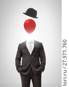 Купить «Headless man with surreal floating hat and balloon», фото № 27971760, снято 23 июля 2018 г. (c) Wavebreak Media / Фотобанк Лори